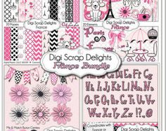 Everything Pink Clip Art | France Clip Art Bundle Pack: Pink and Black Papers, Poodles, Clip Art ...