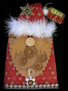 "DIY: How you can turn your Kraft Purse Envelopes into a Santa money or gift card ""ho ho ho-lder!!! :) So Cute! Love it!"