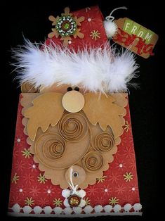 "DIY: How you can turn your Kraft Purse Envelopes into a Santa money or gift card ""ho ho ho-lder!!! :) So Cute! Love it!"
