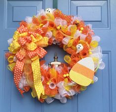 Halloween Candy Corn Deco Mesh Wreath 65 on etsy by dazzled a doorloose the yellow bow and add some burlapEtsy :: Your place to buy and sell all things handmade Halloween Mesh Wreaths, Halloween Door Decorations, Halloween Candy, Deco Mesh Wreaths, Halloween Crafts, Halloween Ideas, Pumpkin Decorations, Homemade Halloween, Holiday Decorations