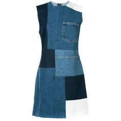 Grlfrnd patched mini denim dress ($435) ❤ liked on Polyvore featuring dresses, jeans, vestidos, blue, denim mini dress, blue color dress, mini dress, blue denim dress and denim dress