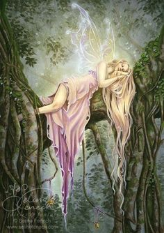 Soft moss a downy pillow makes, and green leaves spread a tent,Where Faerie fold may rest and sleep until their night is spent.The bluebird sings a lullaby, the firefly gives a light,The twinkling stars are candles bright, Sleep, Faeries all, Good Night. ~Elizabeth T. Dillingham