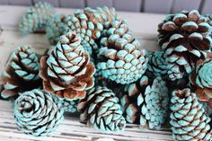 Coastal Christmas Turquoise Pinecones , 30 Hand Painted Natural Pine Cones for Holiday Decoration & Beach Crafts