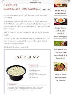 Chick Fil A Coleslaw recipe 12/31/15