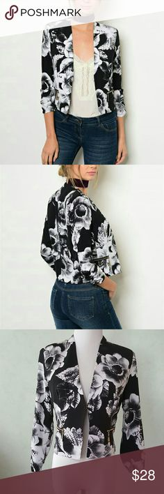 SALE! Black floral blazer 3/4 sleeve black blazer with white flowers.  Gold detailed zipper. Chupchick  Jackets & Coats Blazers