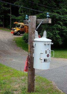 -Weird, Cool and Unusual Mailbox. Looks like a power pole . I would have never known !