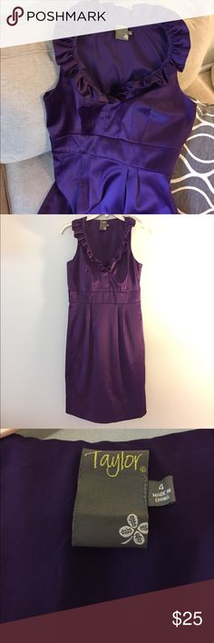 Taylor Deep Purple Collared Dress This dress is STUNNING! Perfect condition. Purple with the most beautiful sheen. Pleated collar runs all the way around. Side zip and with bra snaps. Nordstrom Dresses