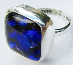 Blue Sterling Silver  Dichroic Glass Ring  100% Handcrafted Fused Glass Sparkly Any Size by MaroonedJewelry on Etsy