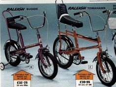 """Raleigh """"Budgie"""" and """"Tomahawk"""" bikes"""
