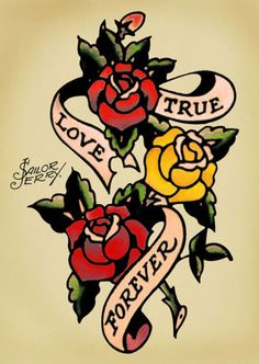 Sailor-Jerry-poster-Tattoo-Vintage-true-love-forever