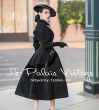 2345c7ac9bbf9 40- le palais vintage winter women 50s Audrey Hepburn long swing black wool  coat rockabilly
