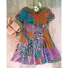 Multicolored Print Mini Dress Fun & flirty dress for spring & summer Hot & Delicious Dresses Mini