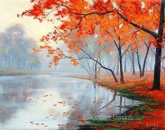 Poplar autumn Trees landscape fine art by Graham by GerckenGallery