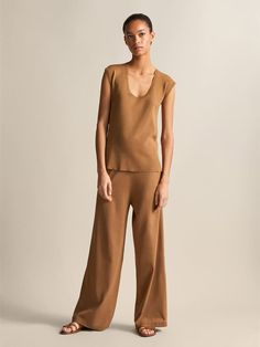 Massimo Dutti - Women - Wide fit trousers - Tobacco brown - S Trousers, Jumpsuit, Brown, Fitness, Dresses, Products, Fashion, Fall Winter, Spring Summer