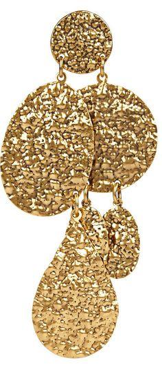 Oscar de la Renta Hammered Gold Earring