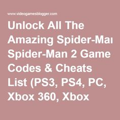 Amazing Spider-Man, The Cheats and Codes for XBox 360 ...
