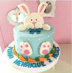 No photo description available. Easter Bunny Cake, Easter Cupcakes, Easter Treats, Baby Cakes, Fondant Cakes, Cupcake Cakes, Cake Designs For Kids, Rabbit Cake, Spring Cake