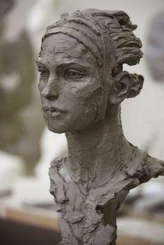 Sculpture by Christophe Charbonnel. Sculpture Head, Human Sculpture, Sculptures Céramiques, Abstract Sculpture, Wood Sculpture, Modern Sculpture, Sculpture Portrait, Ceramic Sculptures, Statues