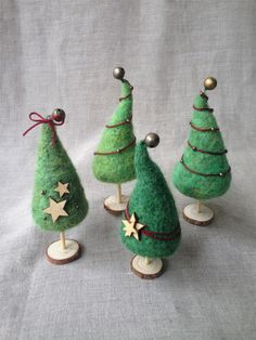 Needle Felt Decor – Dainty Robot You are in the right place about Diy Wool Crafts easy Here we offer Needle Felting Tutorials, Needle Felting Kits, Needle Felted Animals, Wool Felting, Felt Christmas Decorations, Felt Christmas Ornaments, Christmas Crafts, Diy Ornaments, Beaded Ornaments