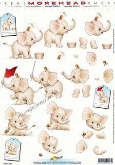 Elephant & Cute Little Bird Morehead 3D Decoupage Sheet Card Making CUTTING REQ • EUR 1,35 - PicClick FR 3d Sheets, Image 3d, Wire Jewelry Designs, Little Boy Blue, 3d Cards, Little Elephant, Craft Corner, Fabric Squares, Square Quilt