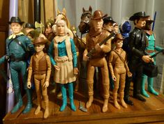 Johnny West and friends ready for some action. Vintage and reproduction figures from Marx Toys.
