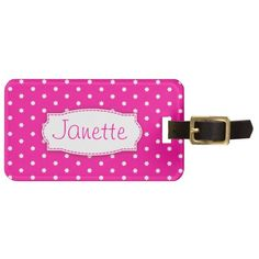 Bright pink flower polka dots add your name and address luggage tag. Design by www.sarahtrett.com