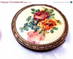 50% OFF SALE, Large Victorian Compact, Made in USA N989155. Flowers and Trim. Powder Box. on Etsy, $27.50