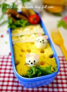 Mice and cheese sandwich bento