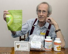Allan Taylor pictured with the natural therapies that healed his cancer