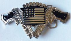 GUNS GUN USA FLAG REVOLVER WESTERN MEN'S BELT BUCKLES