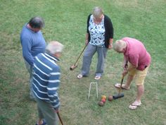 Lining up for a croquet.