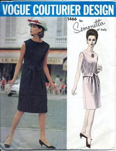 Vinage 60s Vogue Couturier 1466 SIMONETTA Dress Pattern Size 12