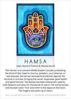 Hamsa. A beautiful and powerful symbol / amulet for protection.    Design by Love And Lumiere.  Hamsa art provided by www.rossimoon.net