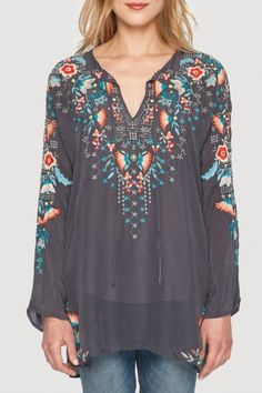 Johnny Was Sunset Embroidered Tunic