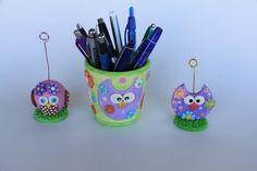 Owl desk Set polymer clay set owl set green pink by Lgartistryshop
