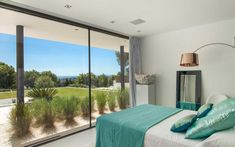 The most expensive villas overlooking the azure waters of Ibiza's Porroig Bay are listed at per week, but the price of others on enquiry rises to up to per week (pictured: a bedroom in the Villa Moon) Ibiza Travel, Ibiza Trip, Climate Change Effects, Super Yachts, Guest Suite, South Of France, Hotels And Resorts, Playground, Swimming Pools