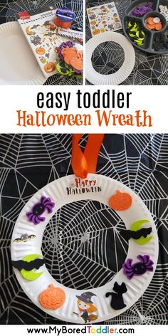 Easy Halloween sticker wreath for toddlers and preschoolers. Great Halloween craft for kids. Theme Halloween, Halloween Arts And Crafts, Halloween Stickers, Holiday Crafts, Halloween 2020, Summer Crafts, Halloween For Kids, Halloween Labels, Halloween Halloween