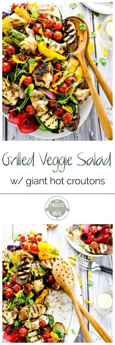 This Grilled Vegetable Salad with Giant Hot Croutons takes only 30 minutes to make and is so tasty!   theendlessmeal.com   #theendlessmeal #salad #grill #bbq #memorialday