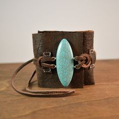 Rustic Leather Cuff with Turquoise Howlite and Sterling silver