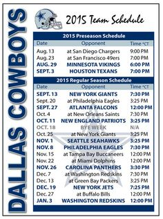 2015 Dallas Cowboys Football Schedule Magnet #Magnet