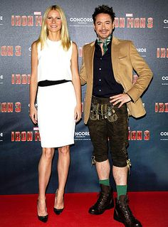 Gwyneth Paltrow (and her sexy white dress) were definitely upstaged by Robert Downey Jr.s culturally appropriate outfit at an April 12 photo call for Iron Man 3 in Munich, Germany.