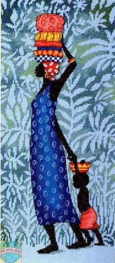 (pale green, alternative) 0 point de croix femme africaine et son enfant - cross stitch african woman and her child Cross Stitching, Cross Stitch Embroidery, Embroidery Patterns, Cross Stitch Charts, Cross Stitch Patterns, African Quilts, Afrique Art, African Art Paintings, African Theme