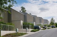 Vertical slats clad terraced housing on the edge of a Swedish forest