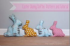 Bunny Softies with Free Template. Tutorial by Crafty Cupboard.