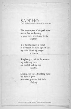 William Carlos Williams' translates Sappho.