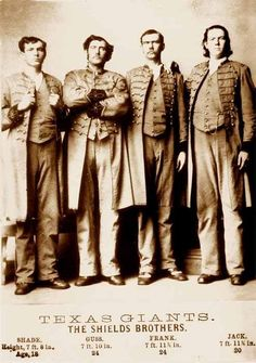 """Franklin and Penelope Shields worked the land in Texas with their seven sons. P.T. Barnum's agents heard about the sons, who were called """"giants,"""" and went to investigate. In the late 1870s, Barnum hired the four of the men to tour in his Barnum & Bailey sideshow as """"The Texas Giants."""