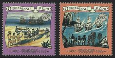 Montserrat Scott #825-26 (10 Mar 1993) Columbus coming ashore; Columbus' ships and natives watching from shore.   Omnibus issue by the OECS (Organization of East Caribbean States) commemorating the 500th Anniversary of the Discovery of America (1492-1992).