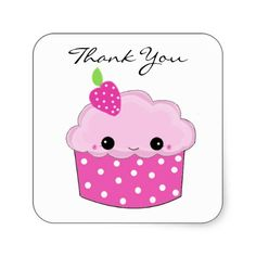 Pink Cupcake Thank You Square Stickers