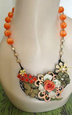 "April Challenge:  ""Pop of Color"".  Vintage Enamel Statement Necklace  OOAK Necklace. by JaelDesigns."
