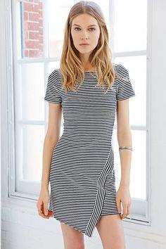 Silence + Noise Striped Asymmetrical-Hem Bodycon Dress - Urban Outfitters